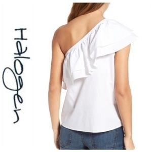 NWT One-Shoulder Cotton Poplin Top HALOGEN